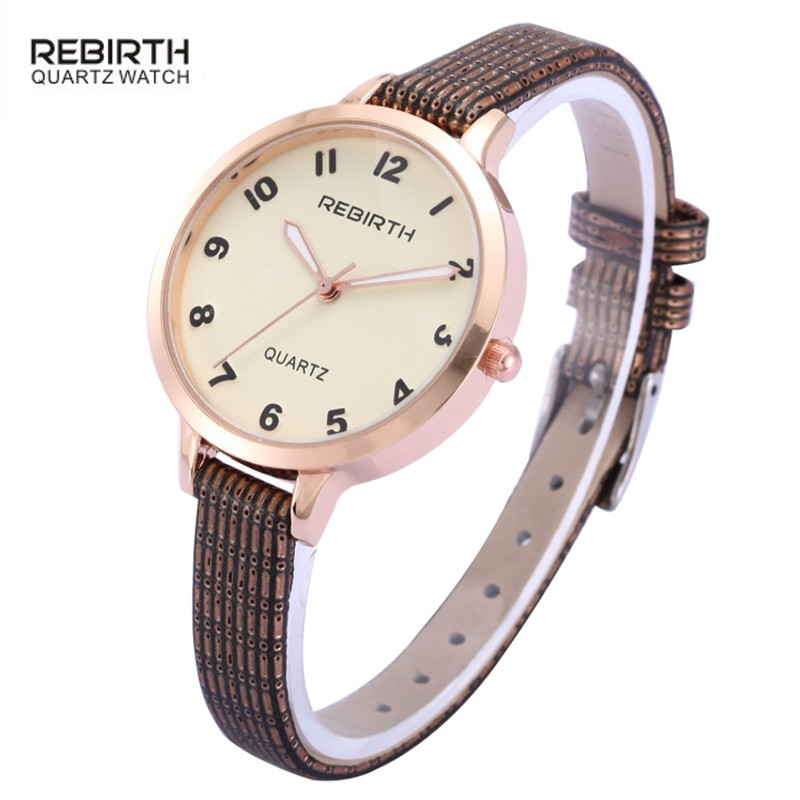rebirth brand fashion ladies elegant simple Arabic numeral business female casual women leather bracelet japanese movement watch