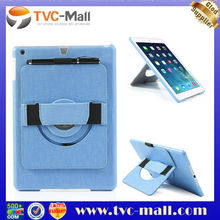 For iPad Air Leather Skin Hard Case with 360 Degree Rotary Stand & Hand Strap