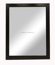 Rectangle wood wall mirror frame wenge finish decorative mirror with stainless steel strip inlay