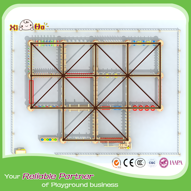 Soft play adventure play equipment double track rope course rope development playground