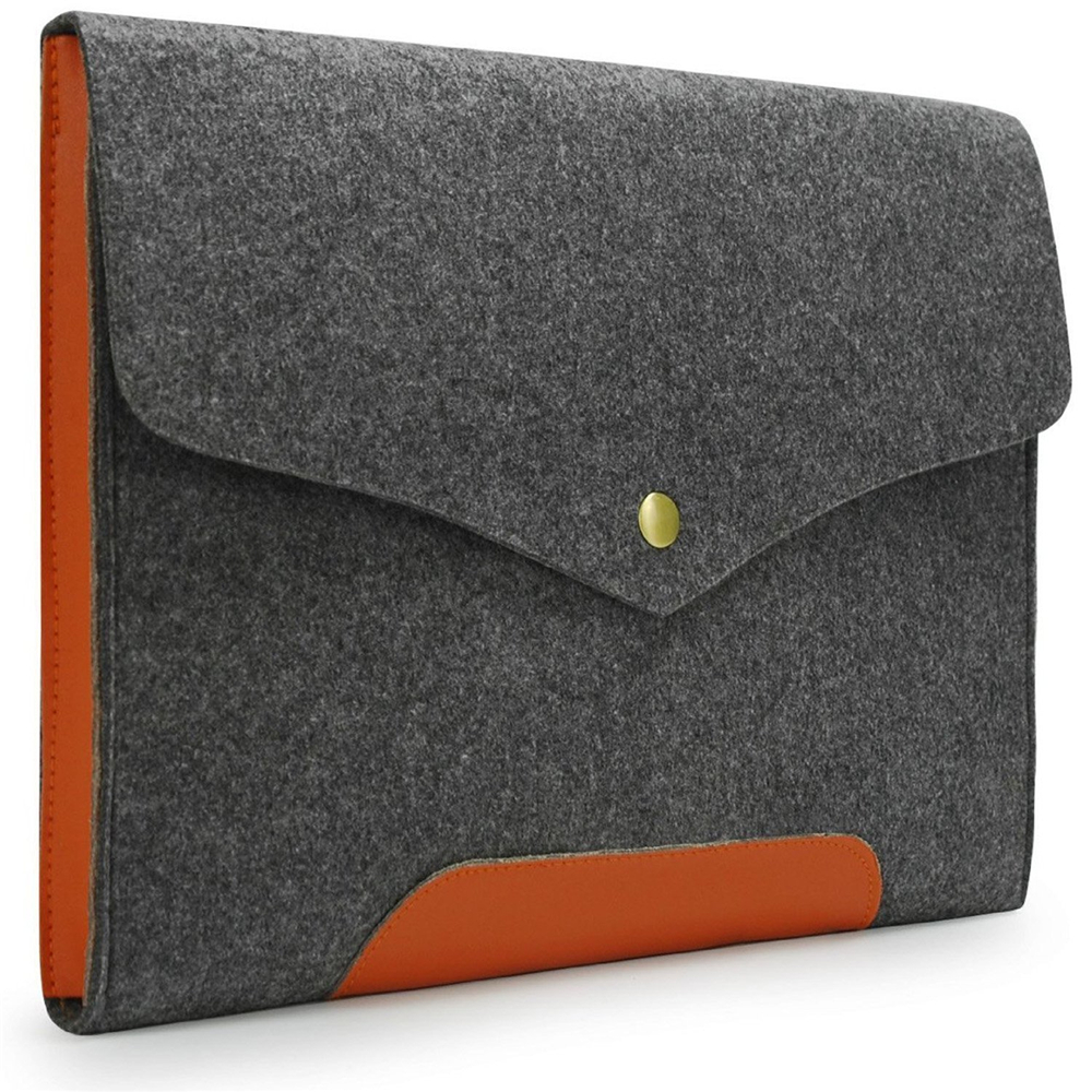 "Gray Felt Case Leather Bottom Bag Sleeve for Apple 13"" Macbook Pro"