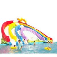 High quality Rainbow inflatable water slide with pool for sale