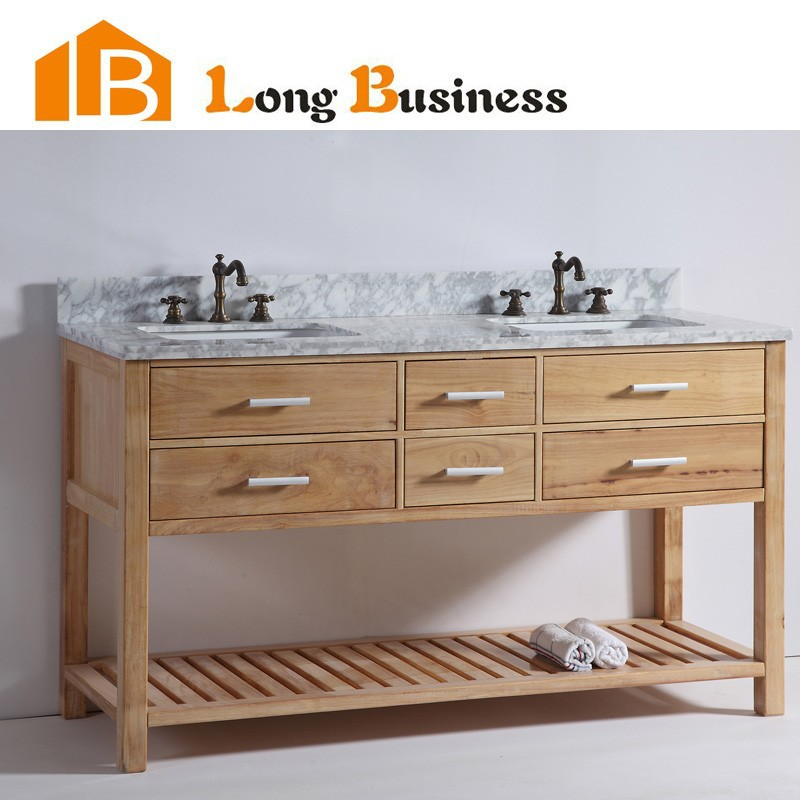 Floor Standing Bathroom Sink Base Cabinet With Wood Legs
