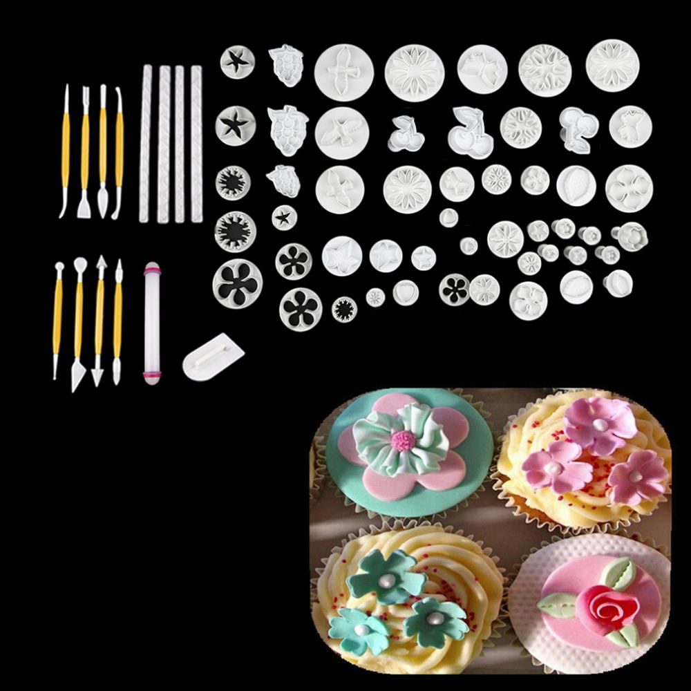 68Pcs Cake Dessert Decorating Fondant Plunger Cutters Tools Mold Cookies cake decorating tools kitchen accessories baking tools