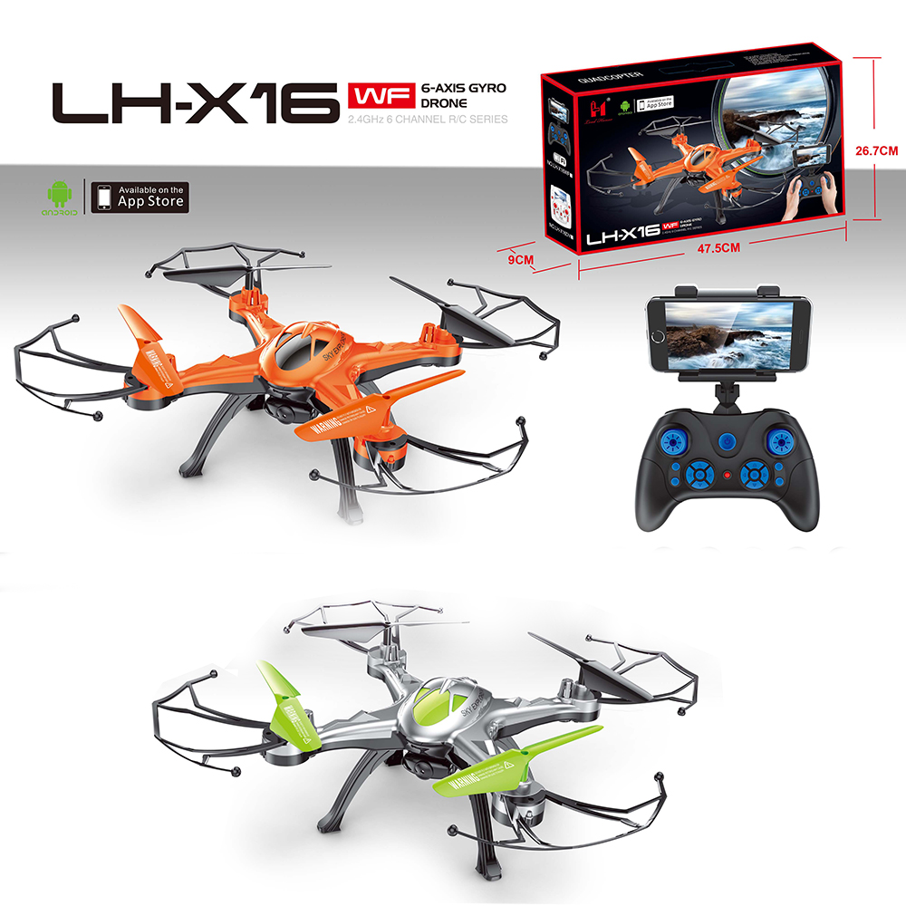 New Products LH-X16WF 2.4G 6-Axis Gyro Wifi Smart Drone RC Propel Quadcopter Drone with Live Video Camera