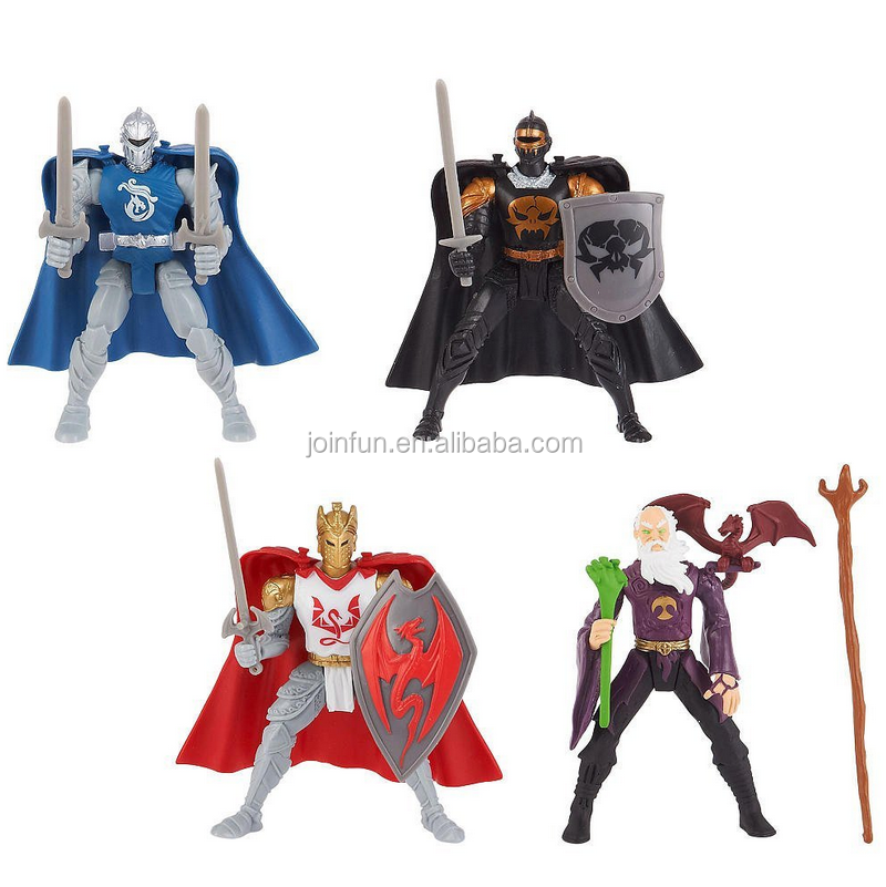 custom make medieval plastic Knights 4 inch Action Figure Black Knight toys