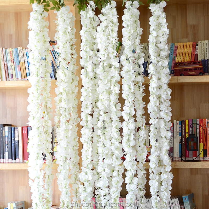 Zhuoou Hot Selling Wedding Decoration 120cm White Silk Artificial Wisteria Wall Hanging Artificial Flowers