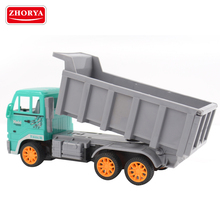 Zhorya kids plastic 6 channel 6 wheels rc heavy duty garbage auto dump truck toy with remote control steer wheel
