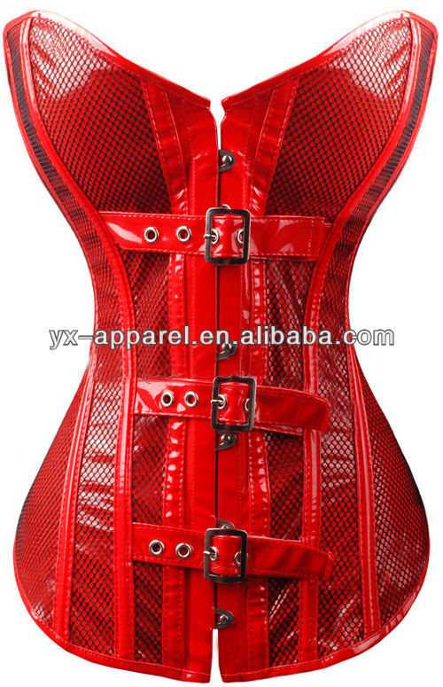 xxl sexy leather corset belts bondage red leather/pvc /rubber latex/vinyl push up steel boned corsets