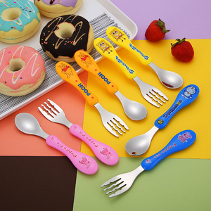 Plastic Handle Toddler Utensil Cutlery Spoon and Fork set