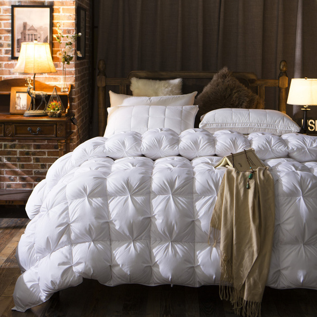 Luxury High Quality 100% Cotton White Goose Down Feather Filled Comforter Duvet Quilt For Hotel