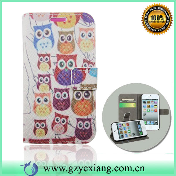 Owl Design Wallet Case ,Leather Flip Case For Nokia Asha 501