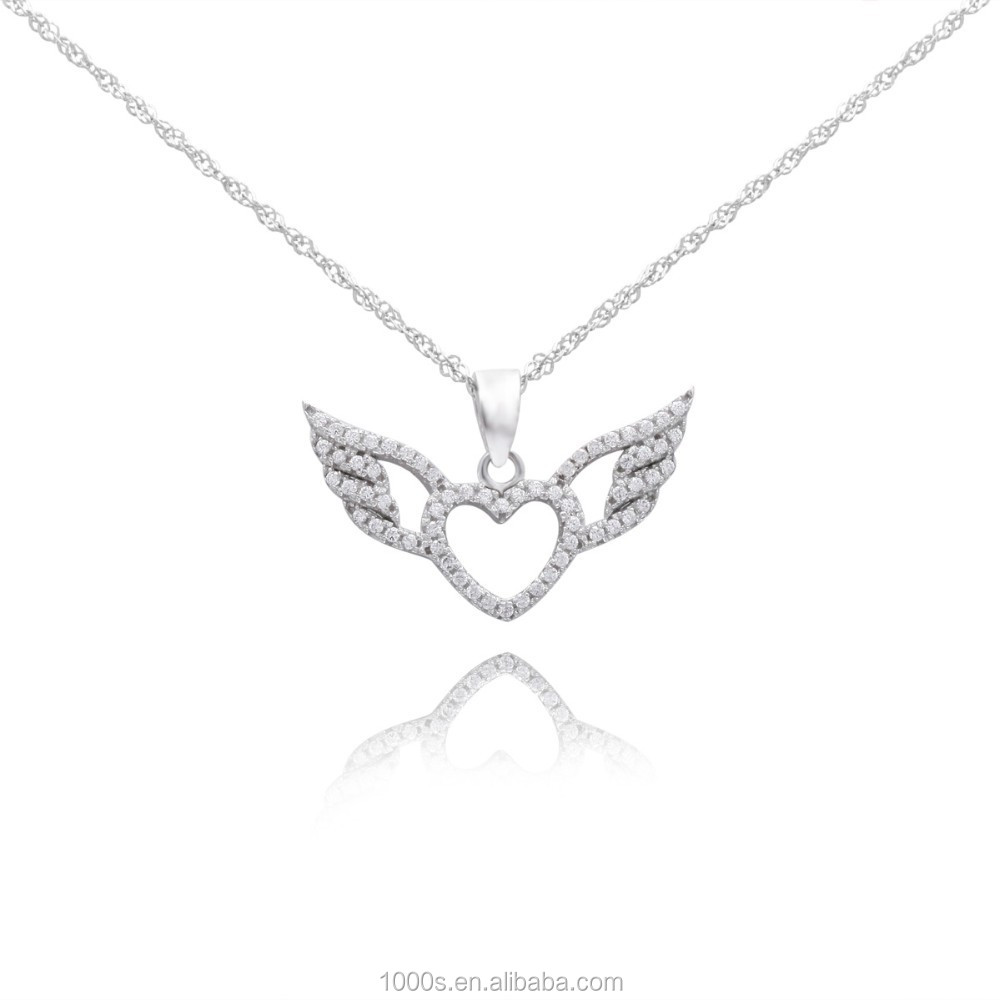 angel wing heart pendant&charms for gift, party, 925 silver charm for bracelets and necklace