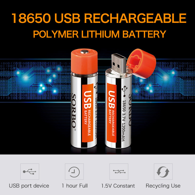 2017 New Technology 1.5v Li-ion USB 18650 Batteries Rechargeable Lithium Batteries
