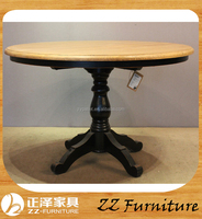 Antique oak and birch wood round dining room table