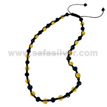 Black Shamballa Beaded Crystal Ball Necklace Children Fashion Adjustable Jewellery