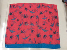 Hot Sale Cute Lovely Bird Swallow Printed Polyester Voile Neck Scarf
