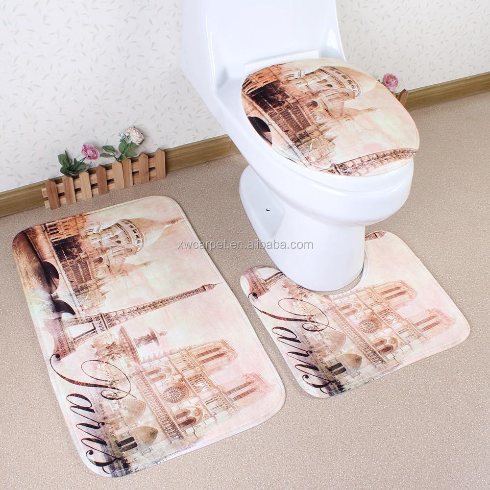 Custom Waterproof Bathroom Accessories Anti Slip 3pcs