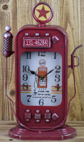 ANTIQUE RED METAL GAS PUMP SHAPE TABLE TOP CLOCK