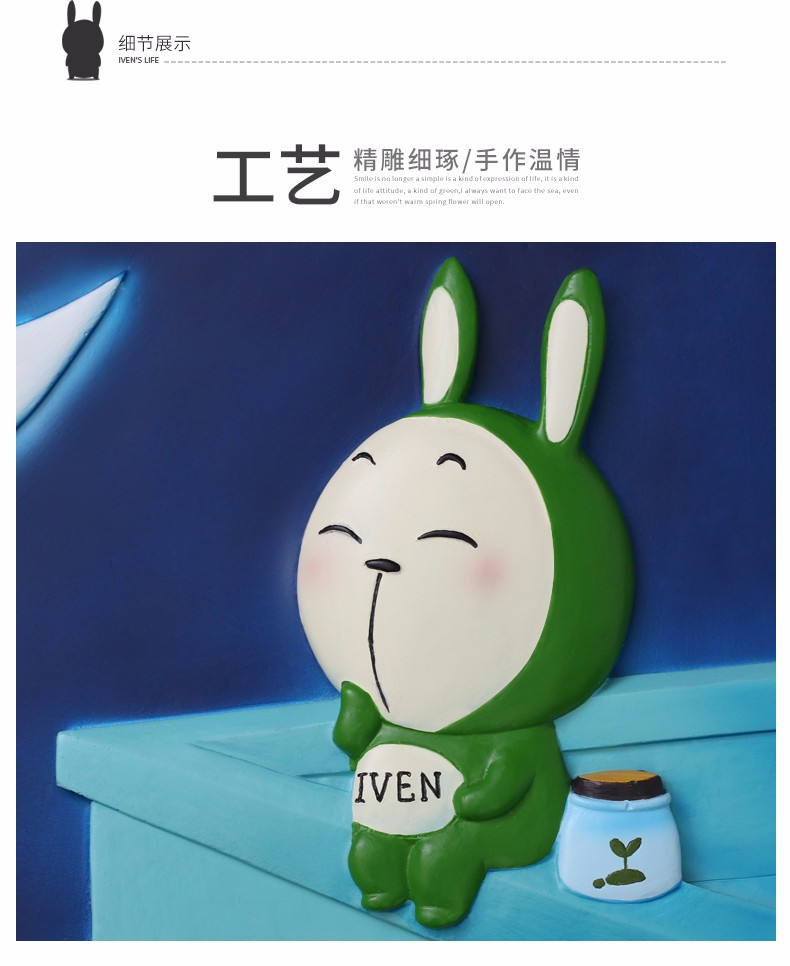 Roogo polyresin reading room decor nignt iven rabbit wall hanging