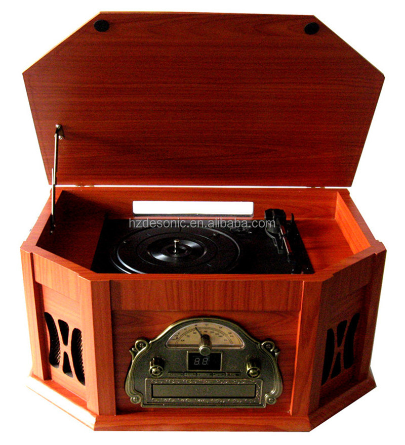 Wooden retro portable vinyl record player gramophone for sale with radio cd
