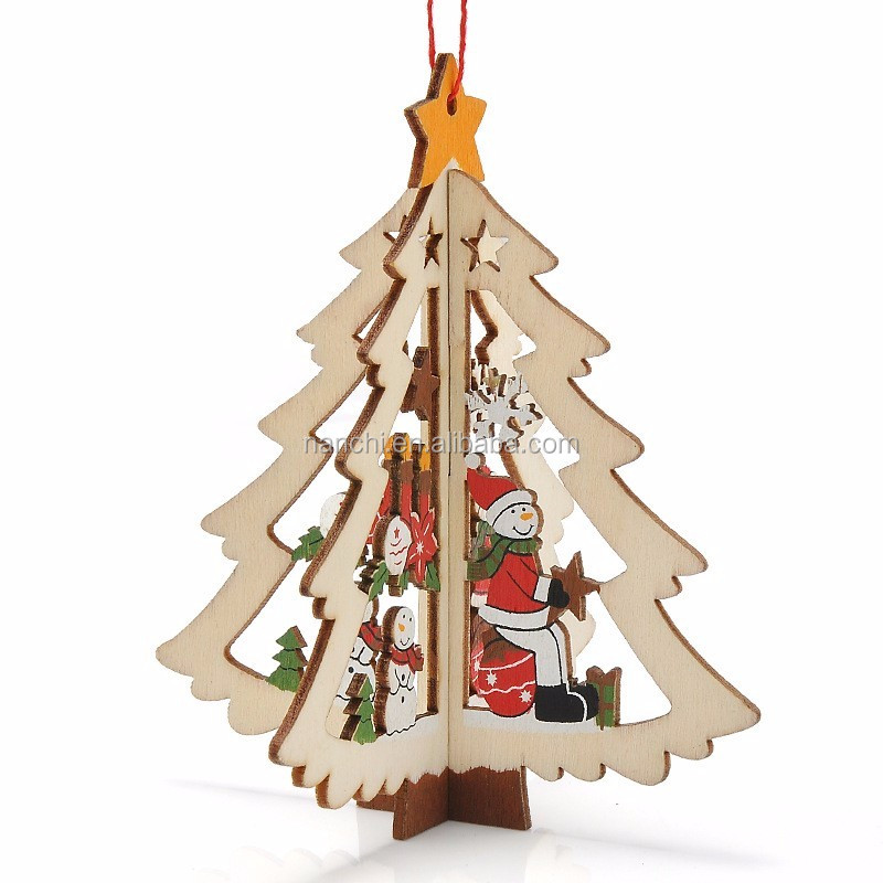 Christmas <strong>Decorations</strong> Carved Wooden Christmas Tree Window Pendant Five - pointed Star Bell Hanging Strap Free Shipping