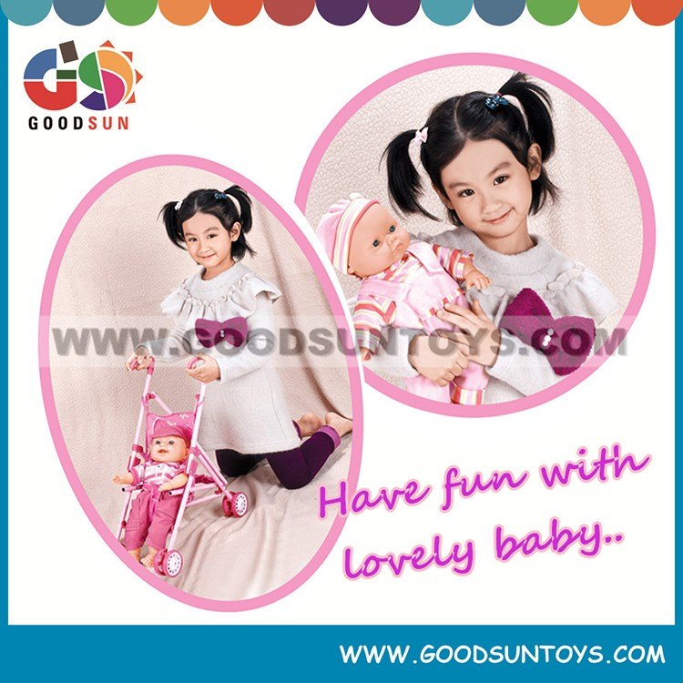 New stuffed baby doll with stroller set wholesale baby stroller toys from China