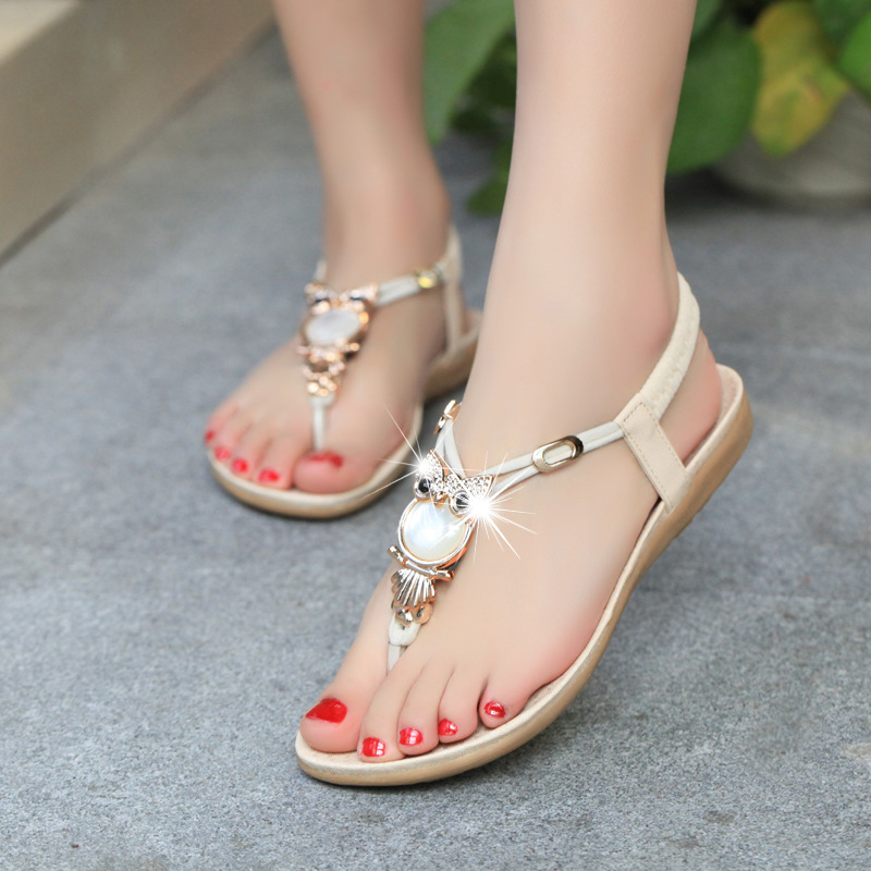 B30016A New arrival ladies summer Bohemian beaded girls roman style flat sandals