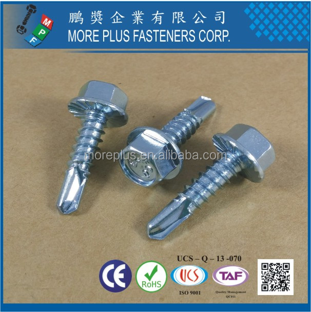 Made in Taiwan IND Hex Washer Serrated #3 Point Case Harden Head Self Drilling Screw
