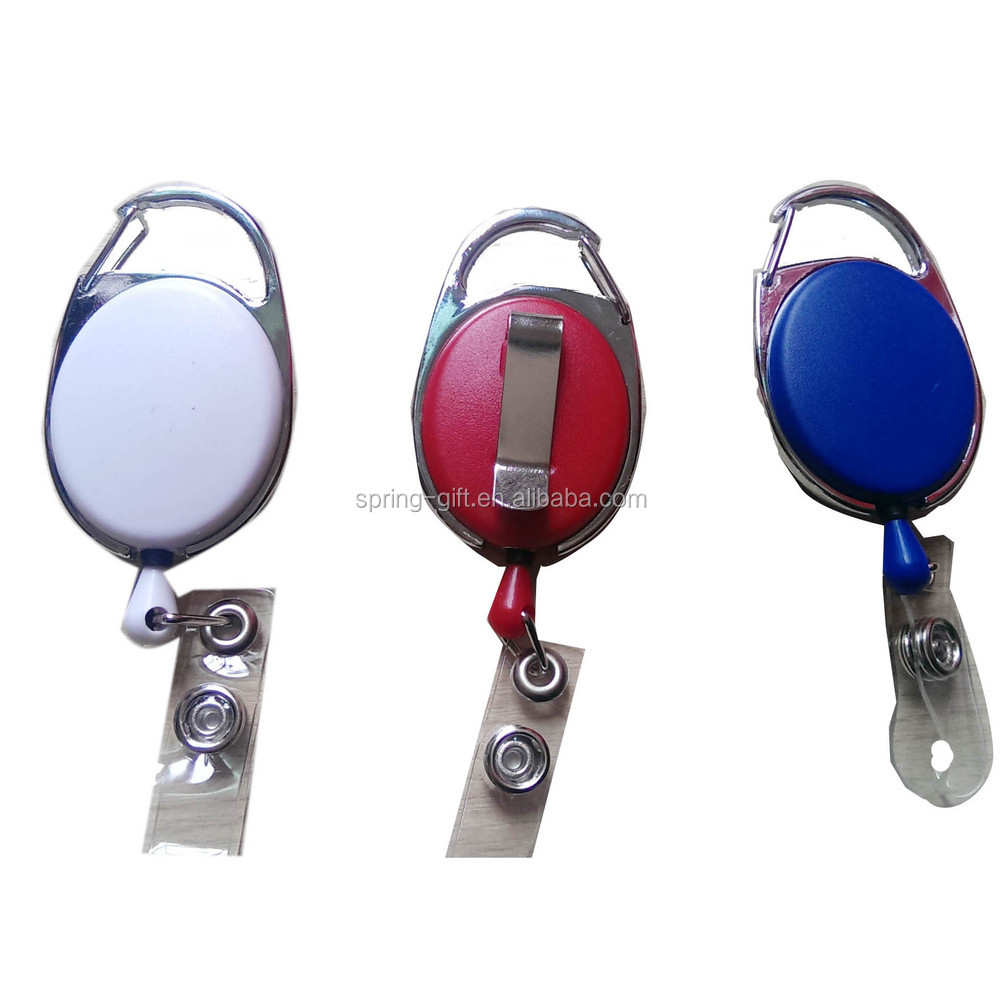 oval retractable badge holder with metal back clip