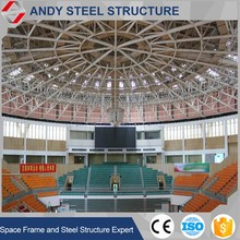 Prebuilt flexible dome shaped roof steel truss framework stadium