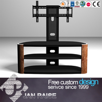 Famous contemporary design Iron+glass tv table
