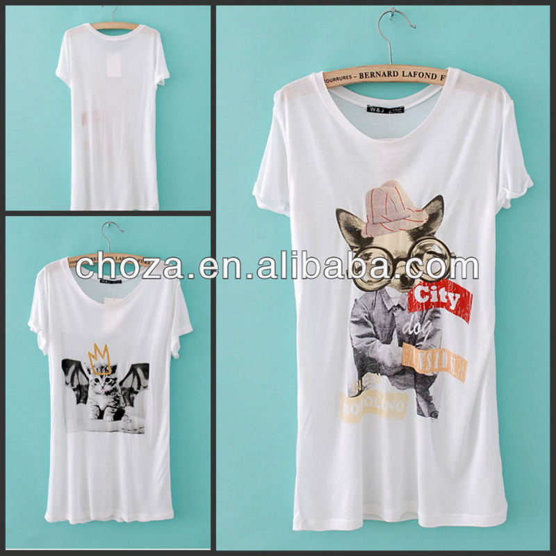 THE FASHION WESTERN WOMEN'S CAT/DOG PRINTED T-SHIRT