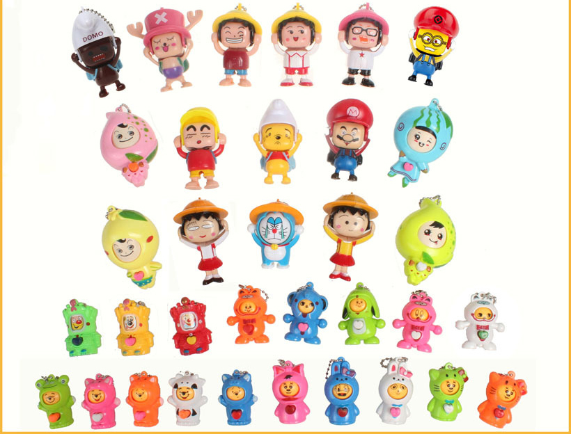 plastic funny face changing dolls key chain