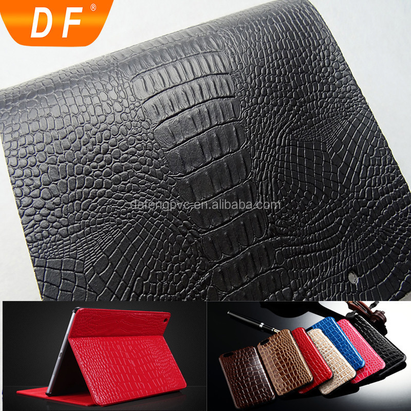 Elastic smoothness Synthetic Crocodile Leather for Cases,shoes etc