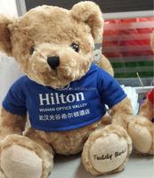 30cm sitting plush teddy bear with blue t-shirt