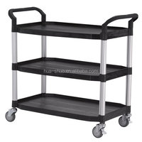plastic black color super larger 3 shelves rolling office trolley