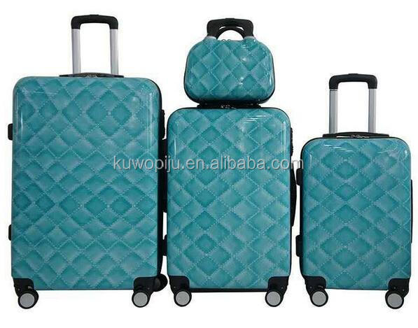 blue Hardside Spinner PC hard luggage sets wheeled ABS PC travel trolley 5pcs hard plastic luggage