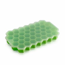 Silicone Ice Mold with Lid Ice Tray 37 Small Ice Cubes Honey Comb Shape