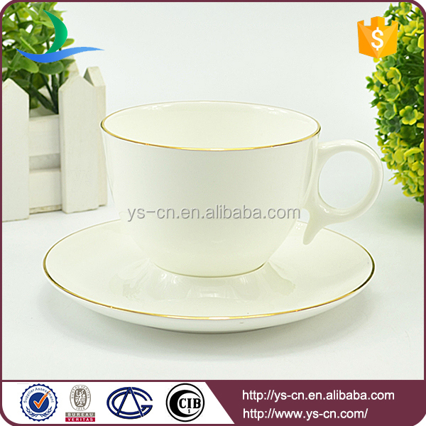 240ML white porcelain ceramic tea cup and saucer for sale