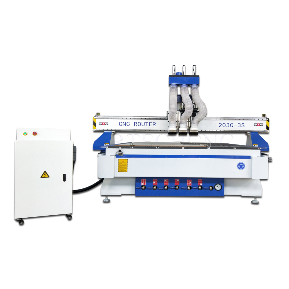High quality pneumatic 3 heads cnc router,cheap 3d cnc woodworking machinery with three spindles