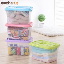 Low price useful household living room stacking bins clear plastic totes with lids