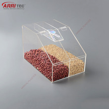 plastic red bean dispenser for grain supermarket clear acrylic bulk food bin