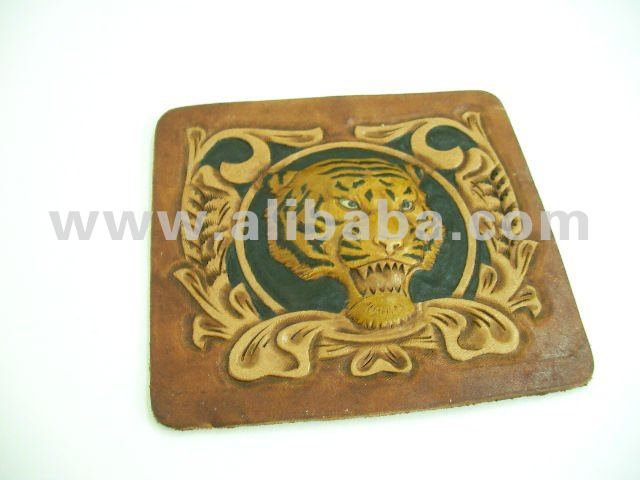 Hand Tooling 3D Roaring Tiger on Leather - Metal Cigarette Case