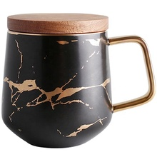 Noble hot sale western <strong>black</strong> color marble gold plated ceramic mug with lid