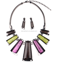 european style high quality geometry shape necklace sets,anti allergy jewelry