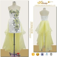 White yellow satin organza elegant backless transparent sexy night dress for woman