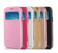 Wallet Window View Genuine Leather Metal Bumper with Diamond Edged Flip-On Back Cover Cell Phone Cases for Samsung S4