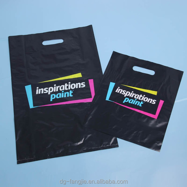 Custom Logo Design Printed Biodegradable LDPE/HDPE Carrier Punch Hole Patch Handle Plastic Die Cut Bag