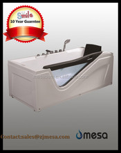 luxury design glass apron ABS whirlpool bath tub with backrest and handrail